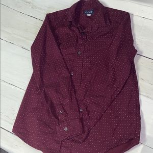 Burgundy Long Sleeve Button Up